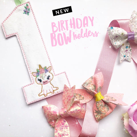 Make your own Birthday Bow Holder- DIY Unicorn Number Bow Holder Felties
