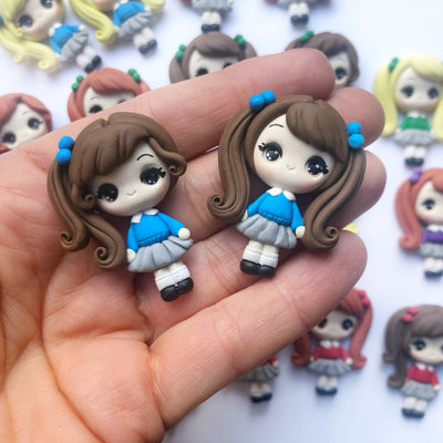 School Girl Clay Charms