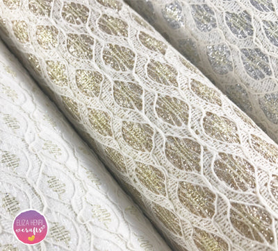 Diamond Pattern Glitter Lace Fabric