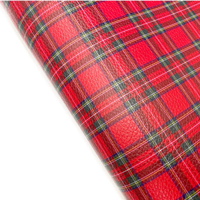 Tartan Textured Strong Faux Leather Fabric Sheets