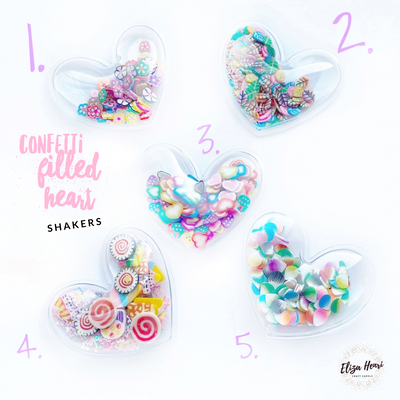 Confetti Filled Heart Shaker Embellishments