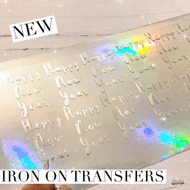 Exclusive Foil Happy New Year Iron On Bow Transfers