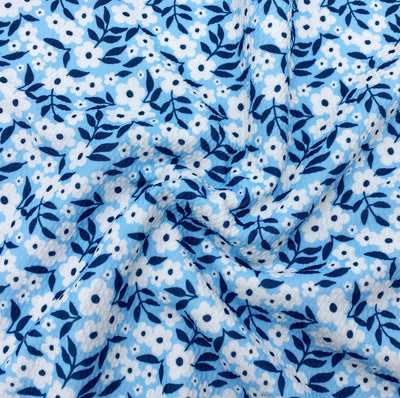 Scattered Blue Floral Premium Bullet Fabric