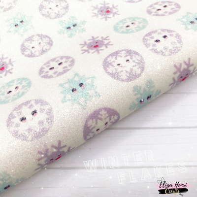 Winter Snowflake Fine Glitter Fabric