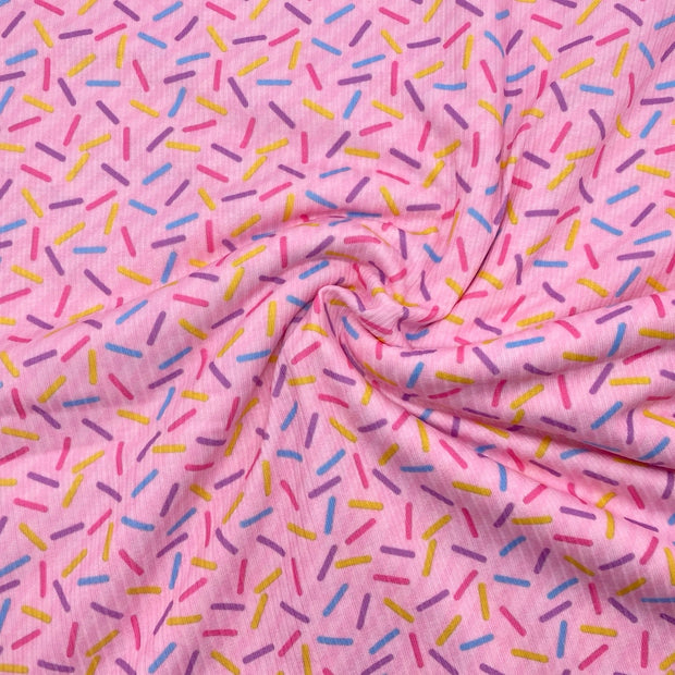 Pink Sprinkles Premium Stretch Ribbed Knit Fabric