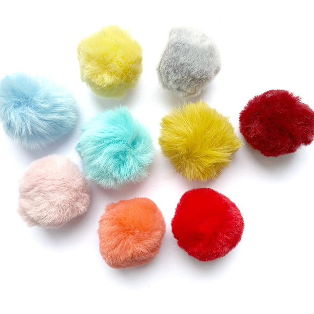 Luxury Fluffy Pom Poms with elastic Hoops -4cm