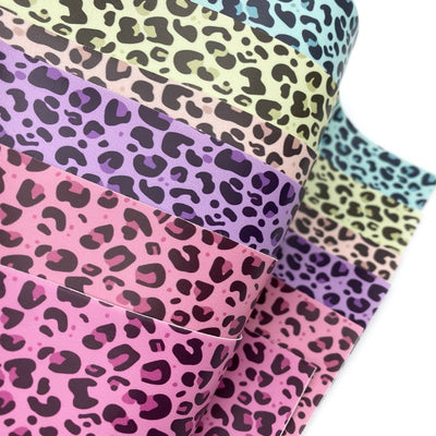 Pastel Leopards Faux Leather Fabric Sheets