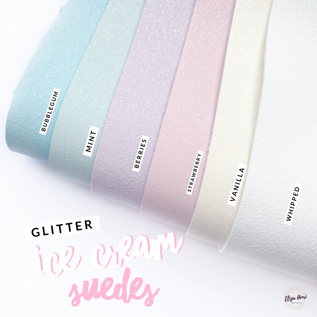 Ice Cream Glittery Faux Suede Fabric Sheets