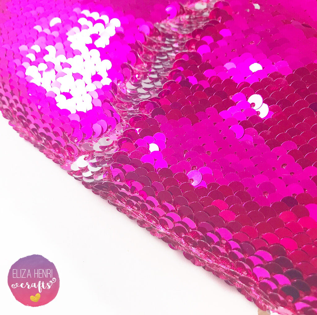 Diva Hot Pink and Silver Colour change Mermaid Sequin Fabric Felt