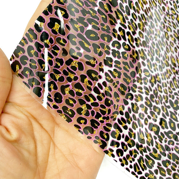 Pink Gold Leopard Transparent Fabric Sheets