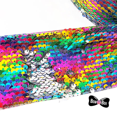 Rainbow Sequin Reversible Ribbon 3''