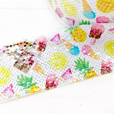 Summer mash up Sequin Reversible Ribbon 3''