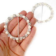 Circle shaped Pearl & Diamonte Buckles