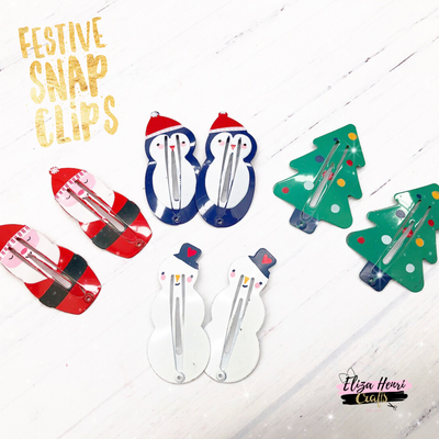 Xmas Festive character Snap Hair Clips - set of 2 - Variety of Designs