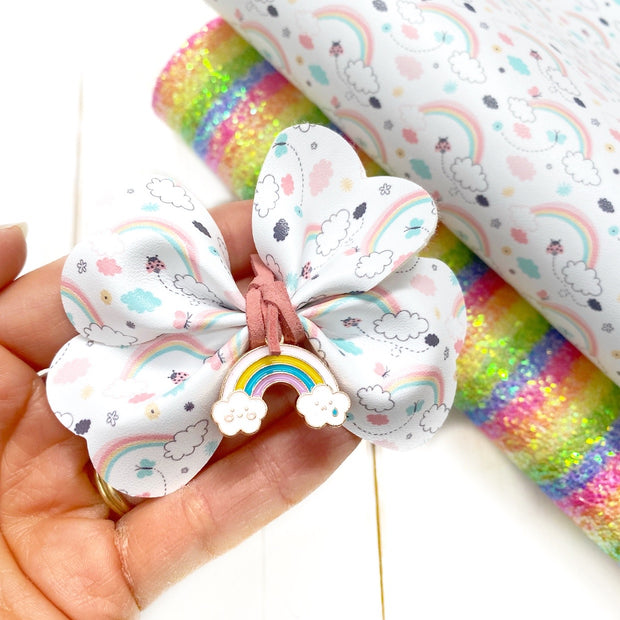 Little Lady Rainbow Faux Leather Fabric Sheets