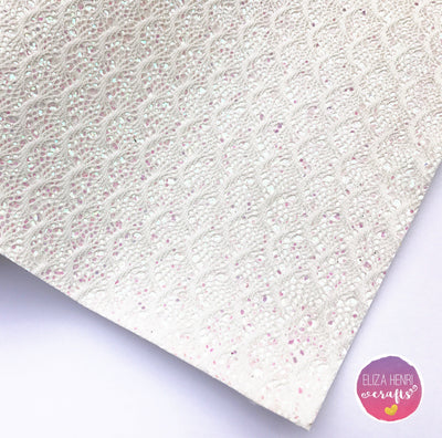 Iridescent White Mermaid Scales Glitter Lace Fabric