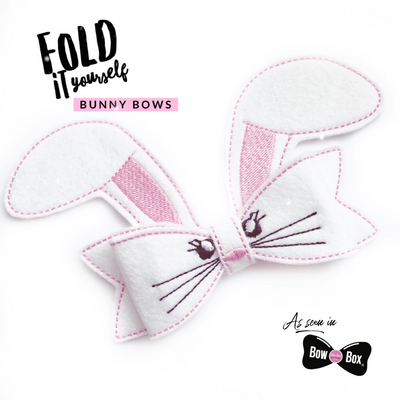 NEW Fold it Yourself Bunny Feltie Bows- DIY Make your own Bow Felties
