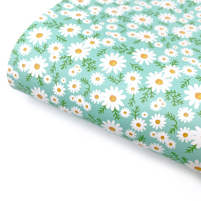 Mint Daisies Smooth Faux Leather Fabric Sheets