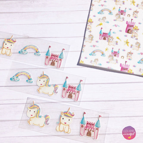 Exclusive Mini Printed Unicorn Vinyl Bow Transfers- Set of 3