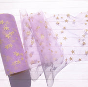 Luxury Soft Gold Star Print Tulle Fabric