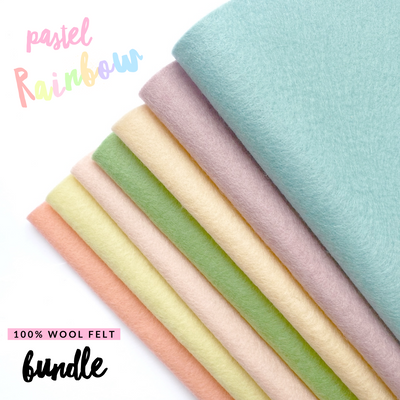 Pastel Rainbow 100% Wool Blend Felt Bundle