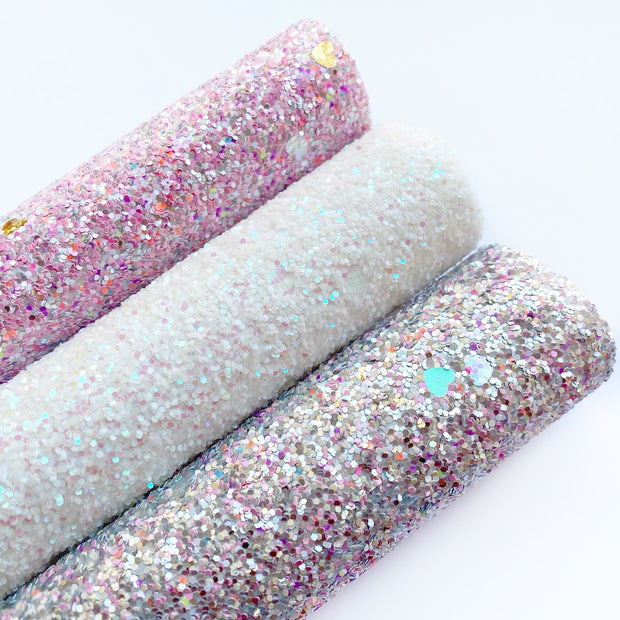 Pinch of Hearts Confetti Chunky Glitter Fabric Sheets