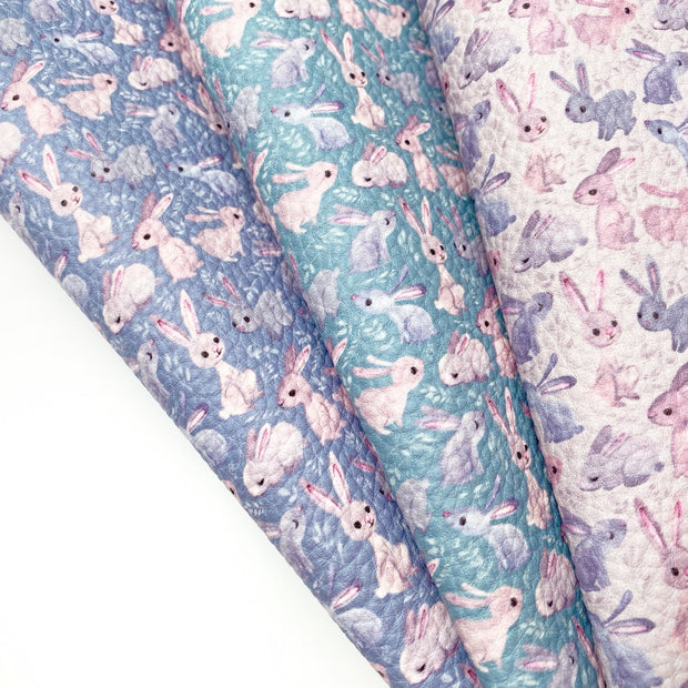 Autumn Bunny Friends Textured Faux Leather Fabric Sheets