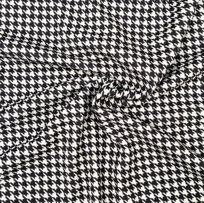 Black/White Hounds tooth Premium Print Bullet Fabric