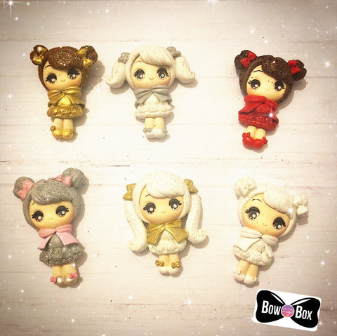 Exclusive Glittery Winter Princess Girl Clay Charms