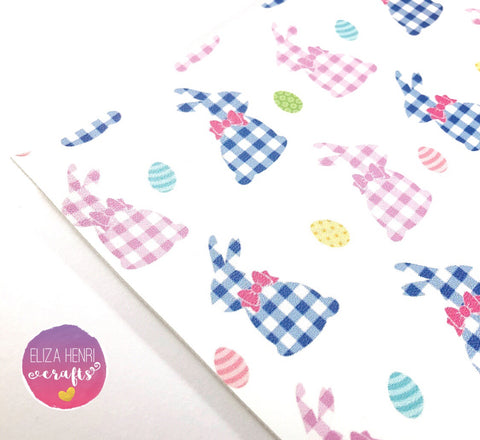 EHC Gingham Bunnies Leatherette Fabric