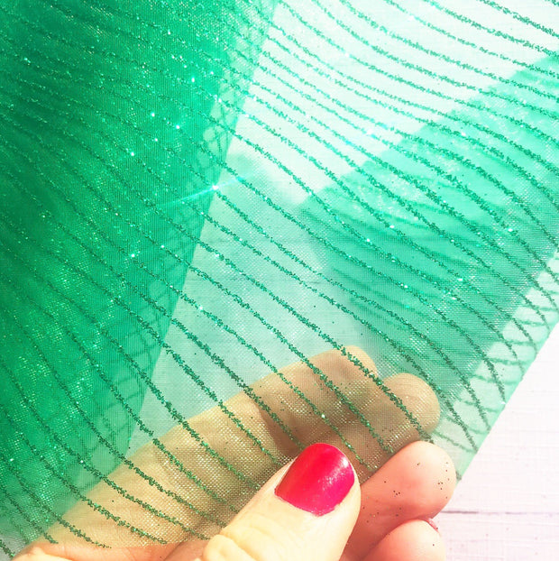 Luxury Organza Glitter Stripe Tulle Fabric