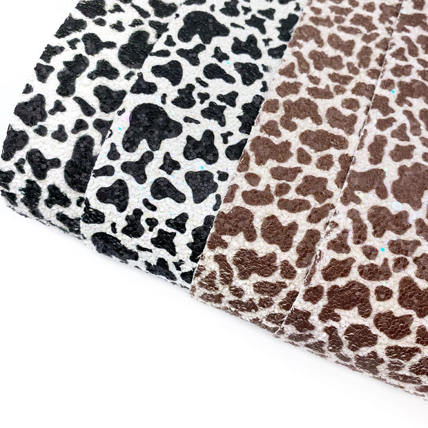 Cow Print Chunky Glitter Fabric Sheets