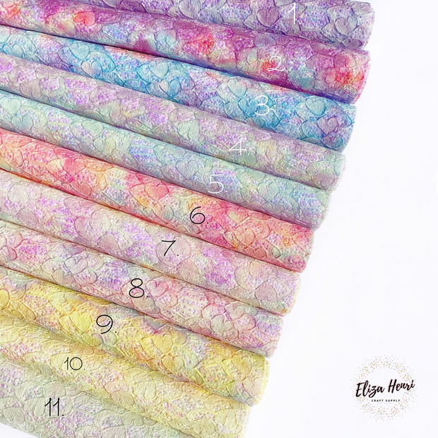 Summer Tie Dye Glitter Lace Fabric