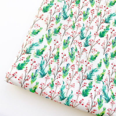Pine Berry White Artisan Fabric Felt