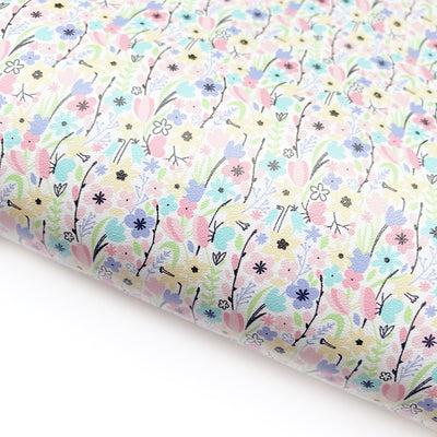 Pastel Floral Faux Leather Fabric Sheets