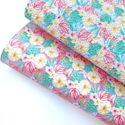 Tropical Floral Jelly or Glitter Fabric Sheets