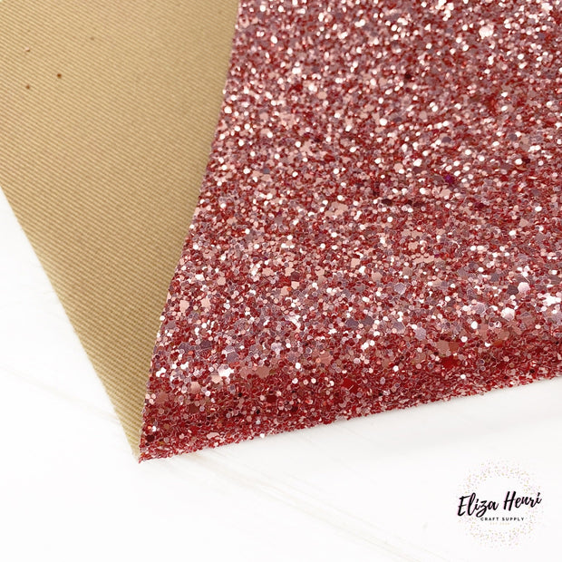 Rose Gold Riches Premium Chunky Glitter Fabric- CORE RANGE