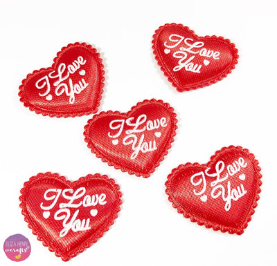 Pack of 5 Padded I love you Heart Embellishments