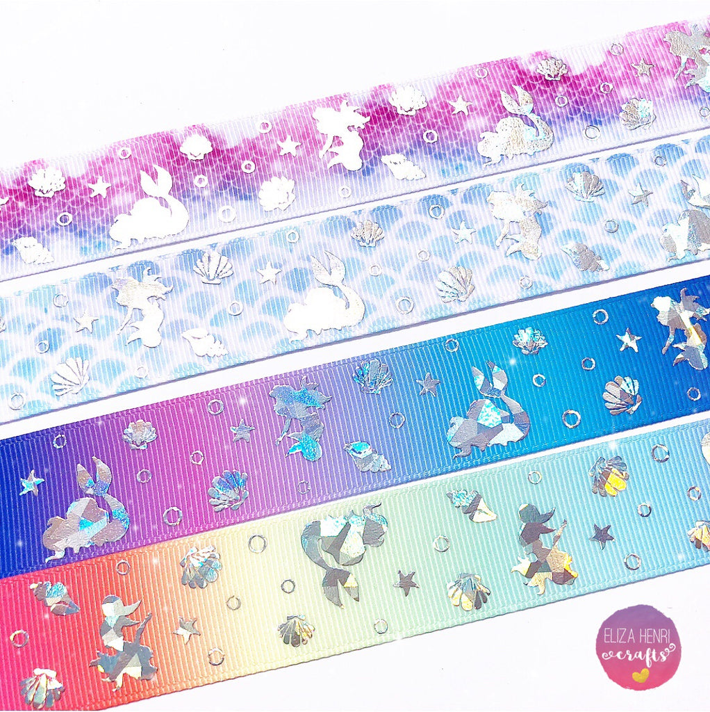 "Grosgrain Rainbow Pastel Marble Ribbon 1/"" 25mm"