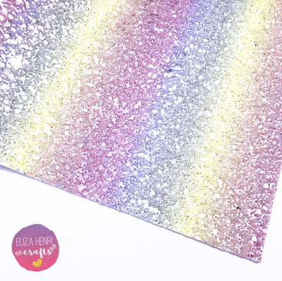 Parma Violets Frosted pastel rainbow chunky glitter Fabric