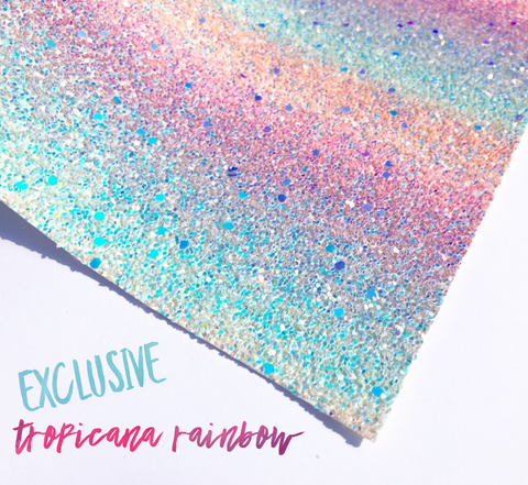 Exclusive Tropicana Rainbow Chunky Glitter iridescent pastel rainbow Fabric