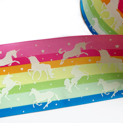 Glow in the Dark Rainbow Unicorn Grosgrain Ribbon 3''