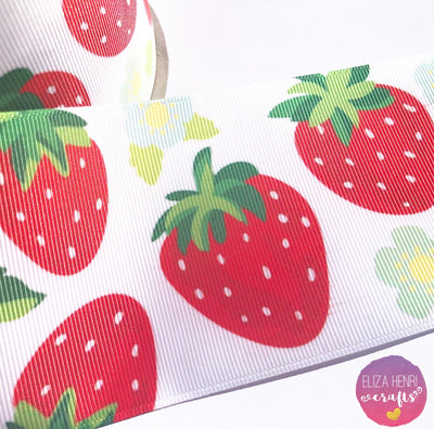 Strawberry Picnic Grosgrain Ribbon 2'' or 3''