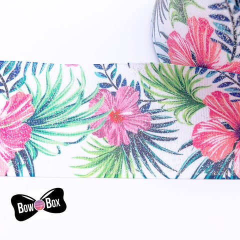 Tropical Floral Print Glitter Grosgrain Ribbon 3''