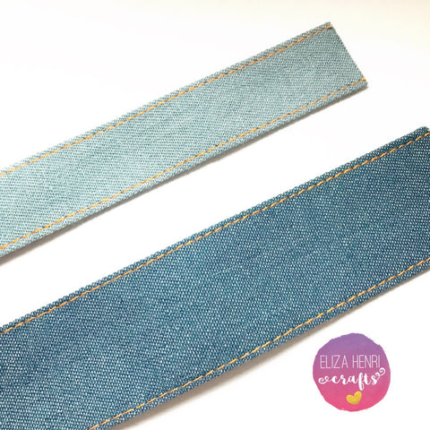 Plain Denim Edged Ribbon
