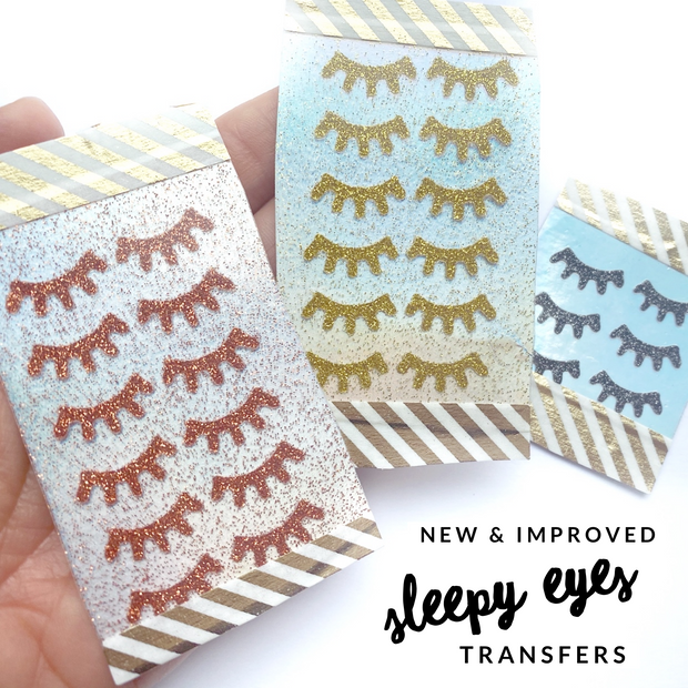 Exclusive Glitter Sleepy Eyes Iron On Bow Transfers