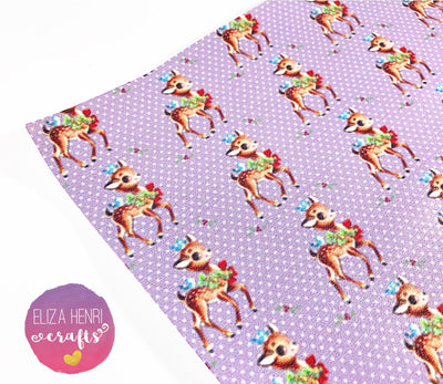 Retro Snow Deer Leatherette Fabric