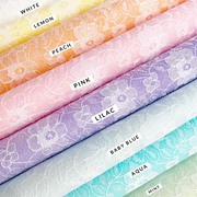 Felt backed Floral Pastel Lace Fabrics