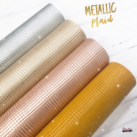 Plaid Metallic Leatherette Fabric collection