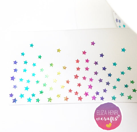 White Rainbow Foil mini Stars Grosgrain Ribbon 3''